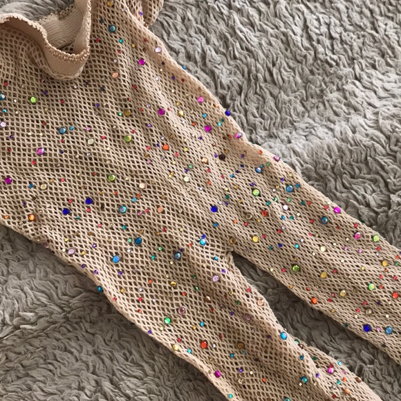 ce75ee17fb3be Accessories | Rainbow Rhinestone Rave Festival Fishnet Tights | Poshmark